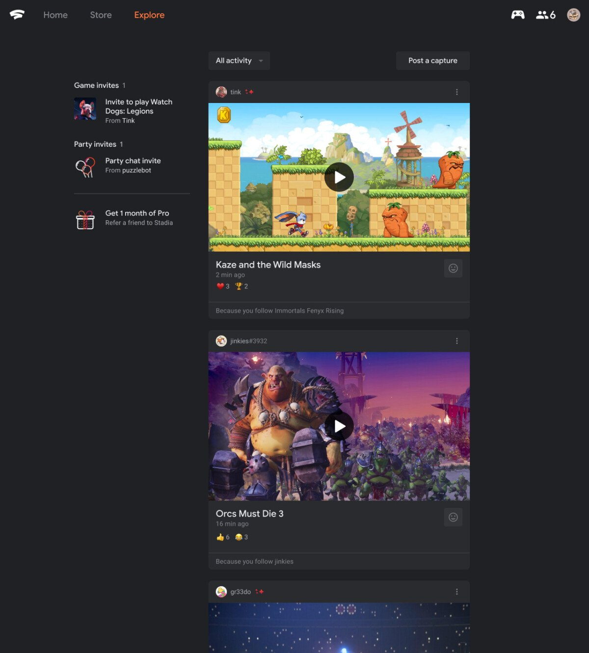 Google Stadia adds an activity feed with your friends' information
