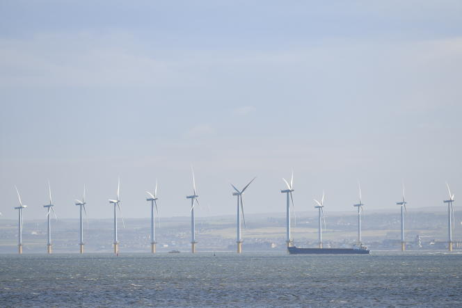 Off-shore wind turbines from Redcar in the Northeast of the UK on November 11, 2019.