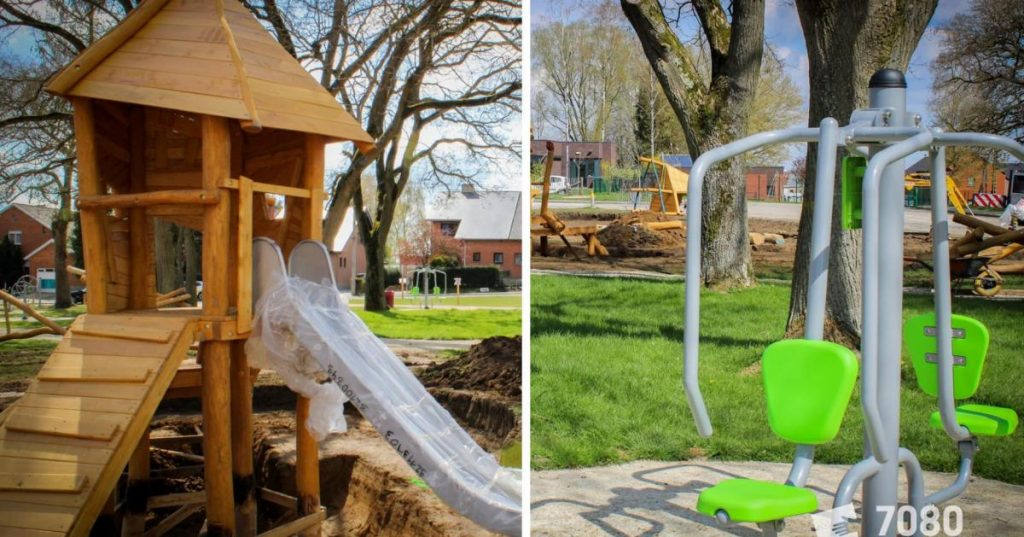 The children's play and outdoor fitness area are nearly finished