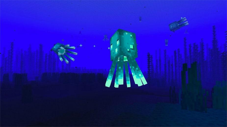 Luminous squid on the ocean floor