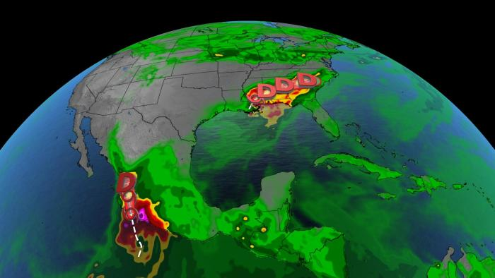 Two tropical storms make a storm