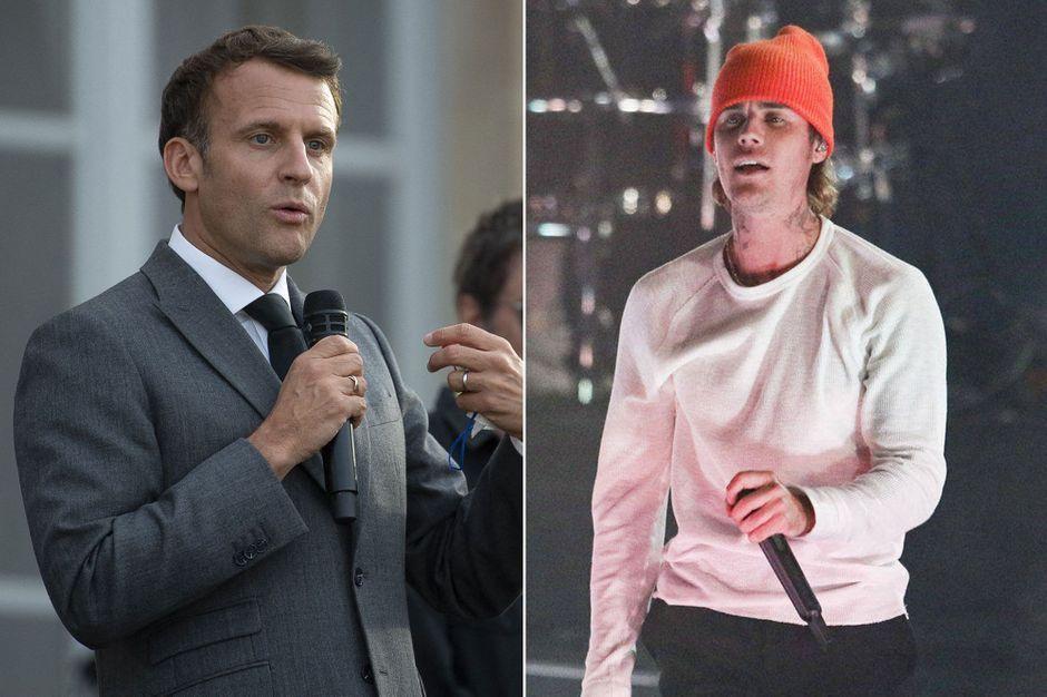 Emmanuel Macron receives Justin Bieber at the Elysee Palace