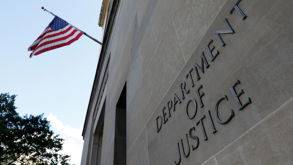 The entrance to the headquarters of the US Department of Justice, where it appears