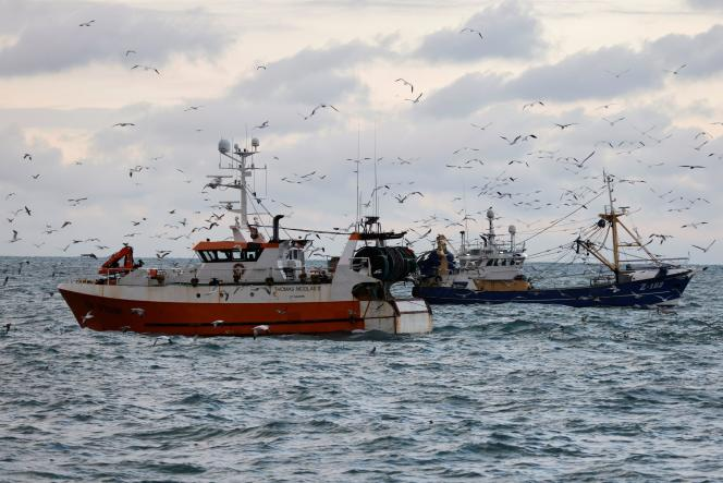 French and Dutch fishing boats on the French coast, December 7, 2020.  Fishing has been in conflict with the United Kingdom since Brexit came into force.