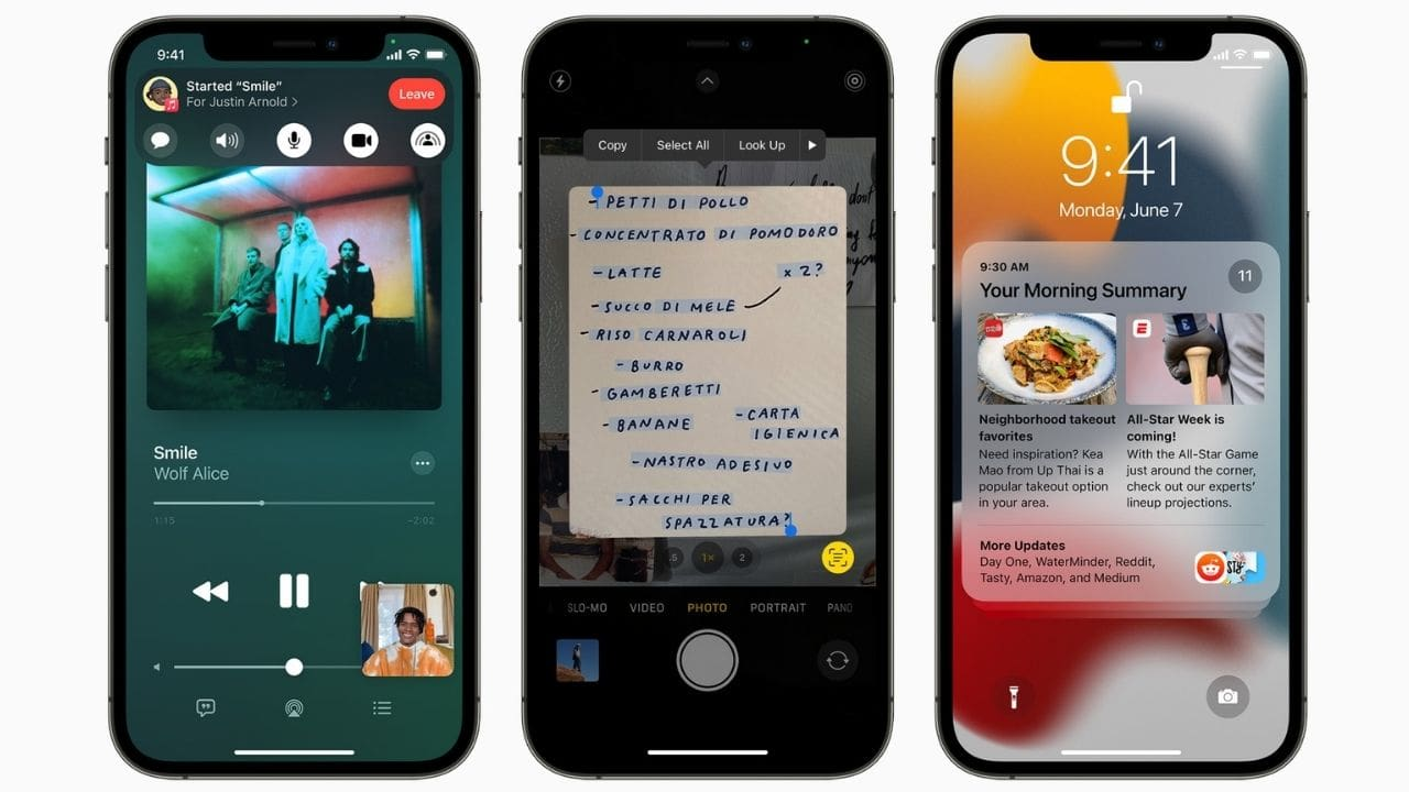 iOS 15 gets a notification summary, a new focus mode, SharePlay, and more.  Photo: Apple