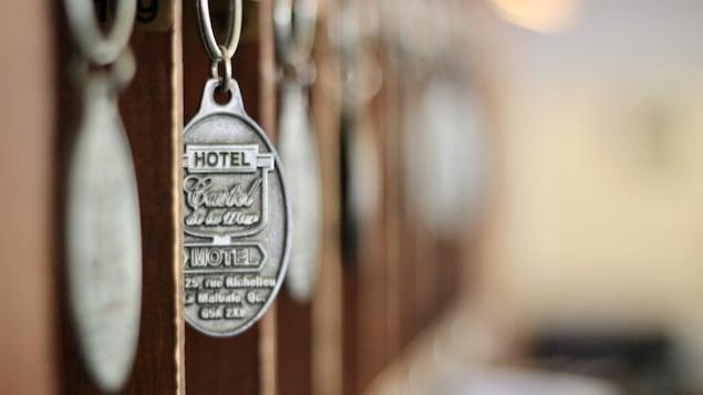Room keys at the Hotel-Motel Castel de la Mer in La Malbaie