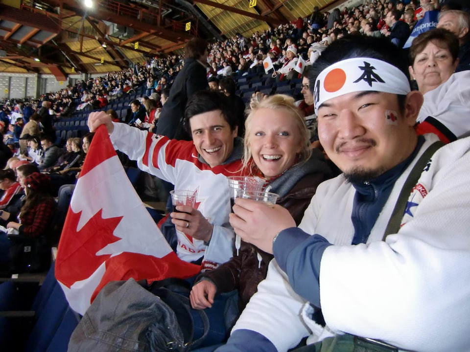 Kazunori Takeshima in the stands of a competition at the Vancouver Games.