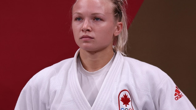 Canada's Jessica Klimkett prepares to compete against Bulgaria's Evelina Ilieva in the Women's Judo-57kg Elimination Round during the Tokyo 2020 Olympic Games in Nippon Budokan in Tokyo on July 26, 2021 (Photo by Jack Goise/AFP) (Photo by Jack Goyes/AFP) ) (Photo by Jack Guez/AFP) GUEZ/AFP via Getty Images)