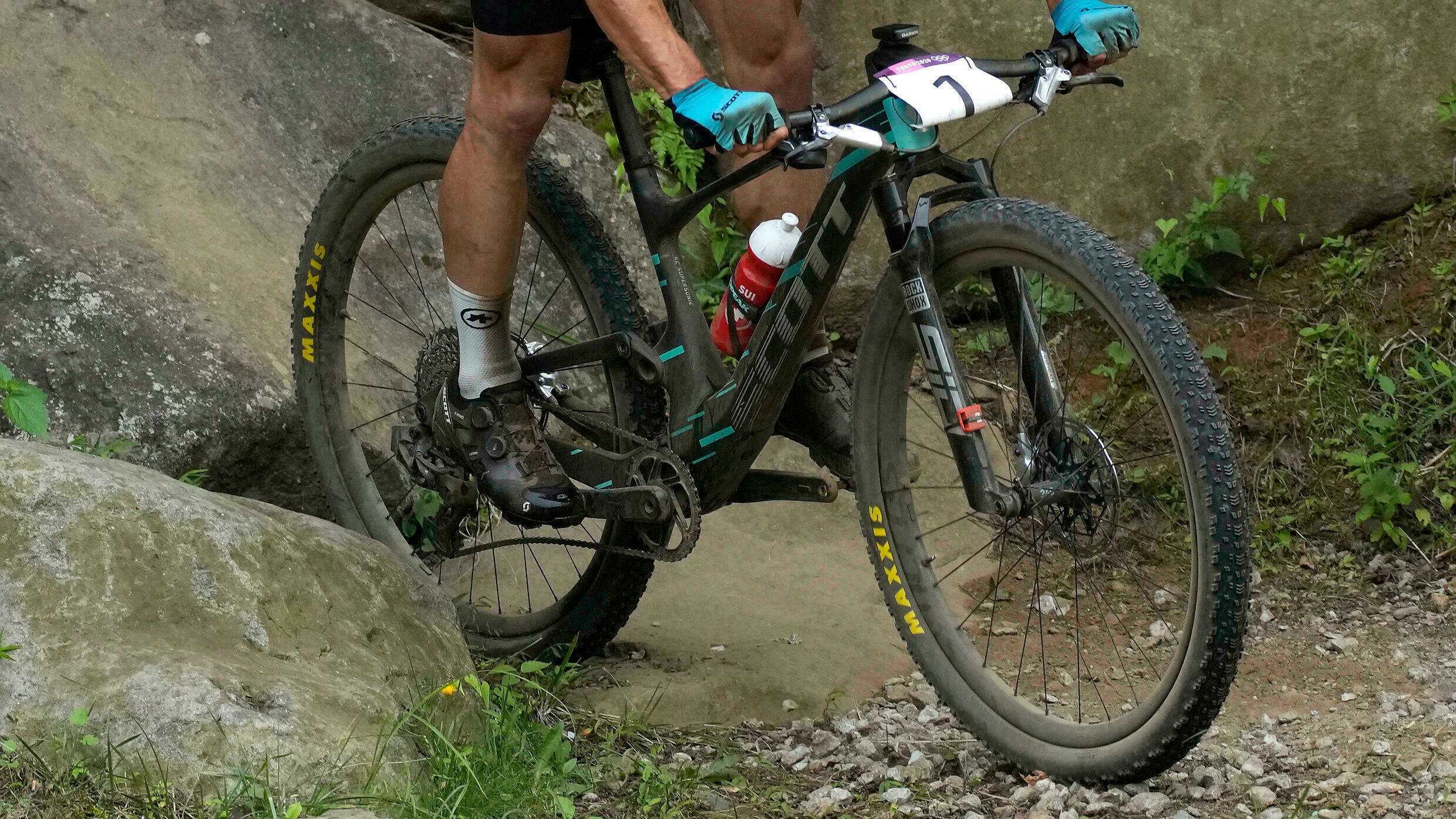 The photo was taken during a mountain biking event at the Tokyo Olympics on July 26, 2021.