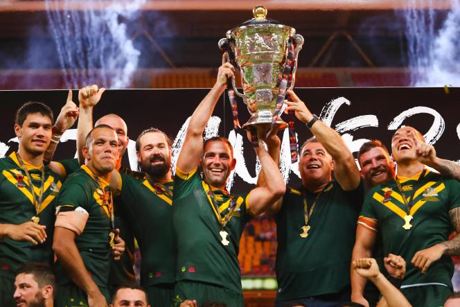 When the Australians lift the trophy for the last Rugby Union World Cup on December 2, 2017 in Brisbane.