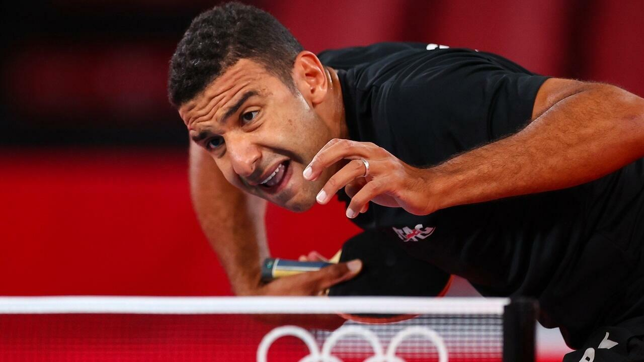 Egyptian table tennis player Omar El-Assar, July 26, 2021, during his match against Ukrainian Lee Ko in Tokyo.