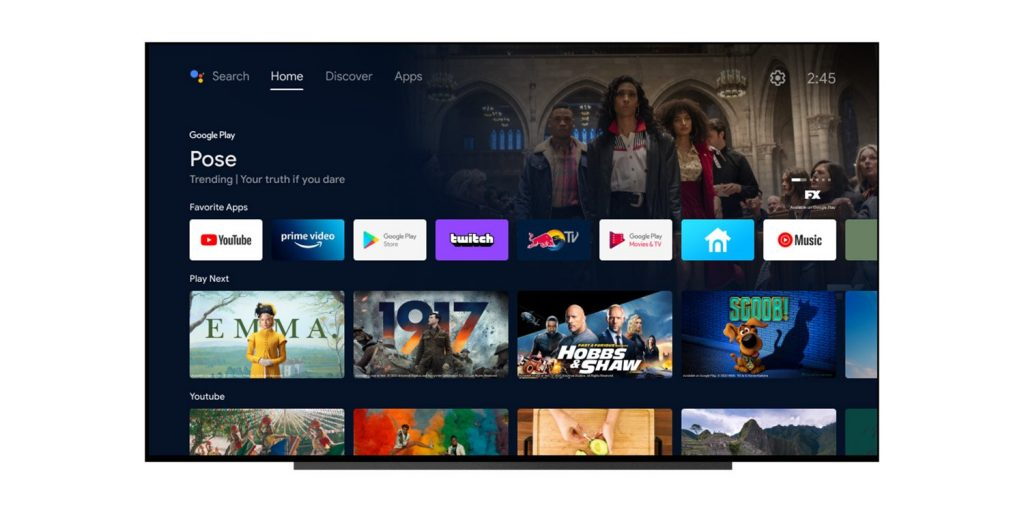 Google is the homepage for advertising content that is not available on Android TV