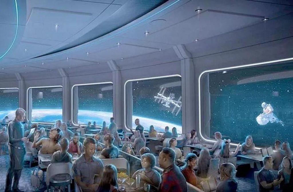 Manger en orbite alors que la station spatiale et des astronautes flottent autour de vous, voilà l'illusion que proposera le restaurant Space 220.