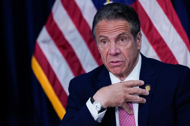 New York State Governor Andrew Cuomo at a press conference, Monday, May 10, 2021