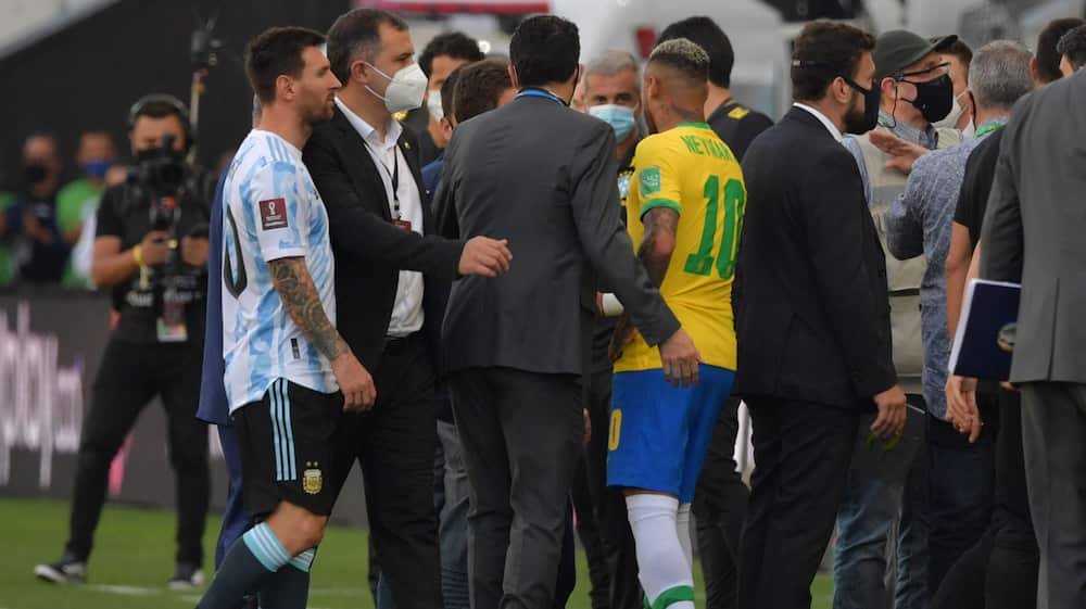 A surreal scene during a match between Argentina and Brazil