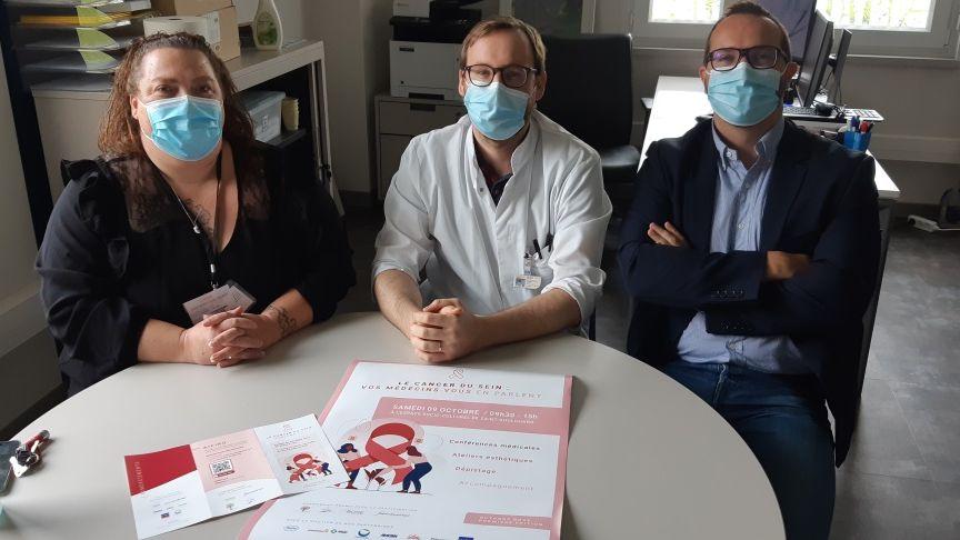 Les docteurs Compagnon et Moreau et Marie-Ange Fontanille de l'association Oncoberry