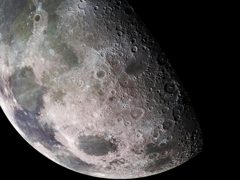 The surface of the moon as observed by the Galileo probe in 1992.