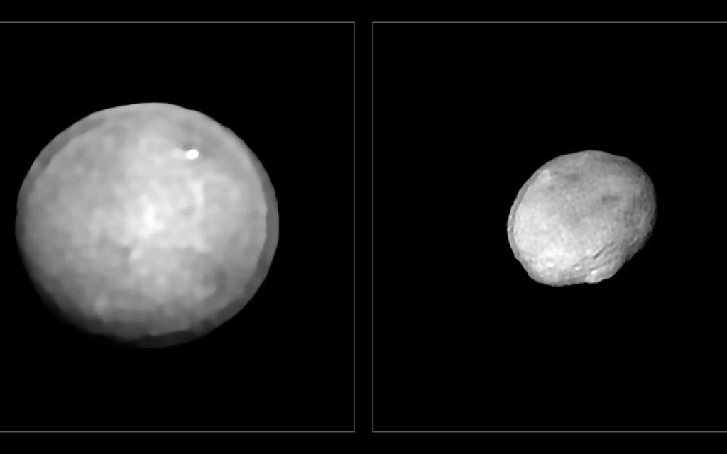 Ces images ont été acquises au moyen de l'instrument Sphere installé sur le Very Large Telescope (VLT) de l'ESO, dans le cadre d'un programme d'étude de 42 des plus grands astéroïdes de notre Système solaire. Elles montrent Cérès et Vesta, les deux objets les plus proéminents de la ceinture d'astéroïdes située entre Mars et Jupiter, dont les diamètres avoisinent les 940 et 520 kilomètres respectivement. Ces deux astéroïdes sont également les plus massifs de l'échantillon constitué. © ESO, Vernazza et al., Mistral algorithm (Onera/CNRS)