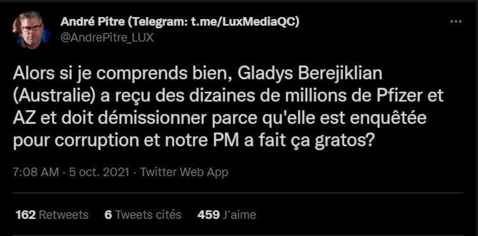 Screenshot of Andre Pitre's tweet claiming that Gladys Periglion had to resign because he received ten million dollars from Pfizer and AstraZeneca.